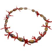 14k Yellow Gold Jasper and Branch Coral Unique Necklace Vintage