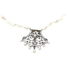 Antique Victorian Bridal Pearl & Diamond Pendant and Necklace, 0.33ct Diamond Center Floral Motive