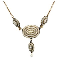 14k Yellow Gold Pearl cluster necklace Victorian 1890s Antique