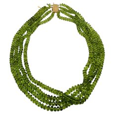 14k Yellow Gold 4 strand gem quality peridot necklace Vintage 1970s