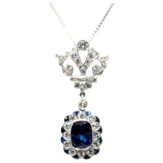 18k White Gold Art Deco Sapphire and Diamond Pendant 2.85ct Vintage