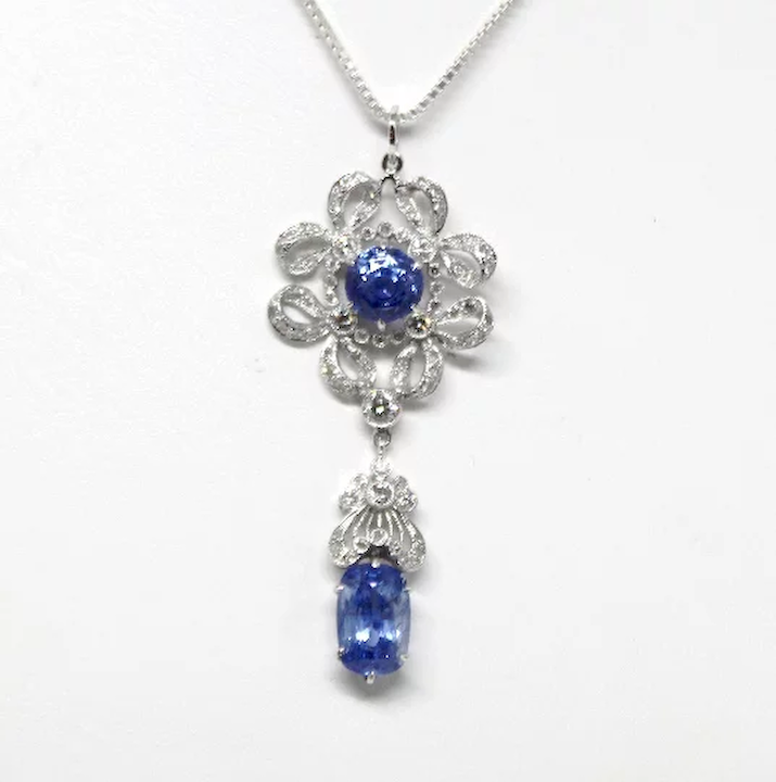 7078933e4a353 Natural Sapphire and Diamond Necklace Vintage Art Deco Great Gatsby