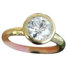 Old European Cut Diamond Ring 18k Yellow Gold
