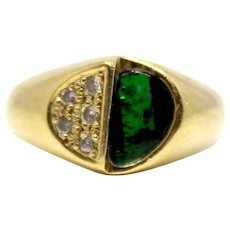 18k Yellow Gold Green Boulder Opal and Diamonds 0.66ct Cocktail Ring Lady's