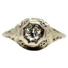 18k Diamond Filigree 0.23 ct Antique Cut Edwardian Ring in white gold