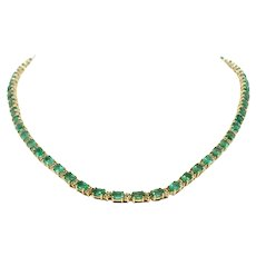 14k Yellow Gold Natural Emerald and Diamond Necklace Vintage