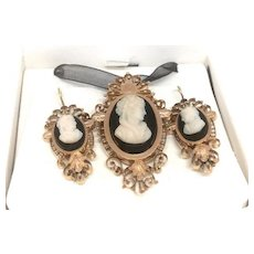 Beautiful Antique Cameo Pendant and Earrings set in Rose Gold