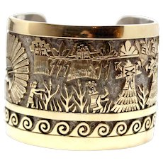 Sale! Cuff bracelet Sterling Silver 14k Gold Plated, handcrafted handmade Indian culture