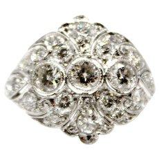 Platinum Art Deco Vintage Filigree Diamond Ring 1.85 ct