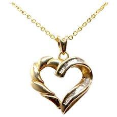 14k Yellow Gold Diamond Heart Necklace Pendant