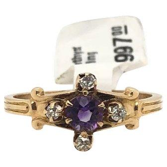 14k YG amethyst with 4 dia ring