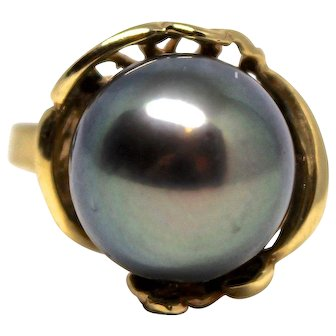 14k Yellow Gold 11mm Black Pearl Ring Vintage Unique Gift Anniversary Engagement Birthday