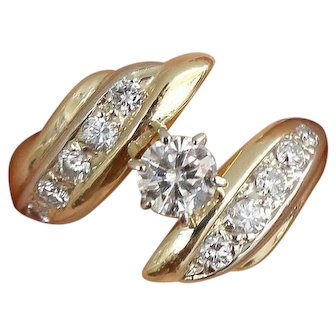 Diamond Bypass Ring 0.25 ct Yellow Gold