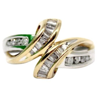 Sale! Two tone Bypass Diamond Ring 14k Yellow Gold