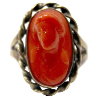 14k Yellow Gold Coral Cameo ring portrait