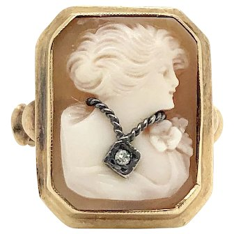 Sale! 10k Yello Gold shell cameo lady with diamond necklace ring Vitage