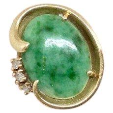 Natural Jade and Diamond Yellow Gold Ring