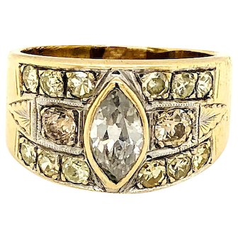 Vintage Diamond ring with different color champagne and white stones 14k Yellow Gold marquise band wedding