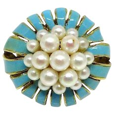 14k Yellow Gold enamel petal Ring with pearl cluster center