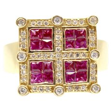 Ruby and Diamond Square Ring Vintage Art Deco Yellow Gold