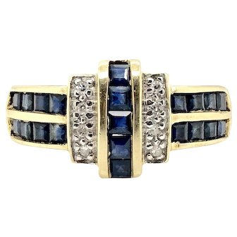 Sale! 14k Yellow Gold Sapphire and Dia Ring