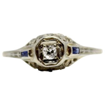 Antique White Gold Filigree Diamond Ring, with two baguette sapphire accents Vintage Engagement Ring