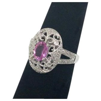 SALE! 14k Pink Sapphire and Diamond Filigree Ring