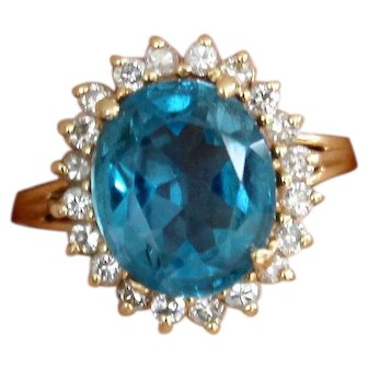 Sale! 14k Yellow Gold Diamond and Topaz Ring Halo Cocktail Blue Oval
