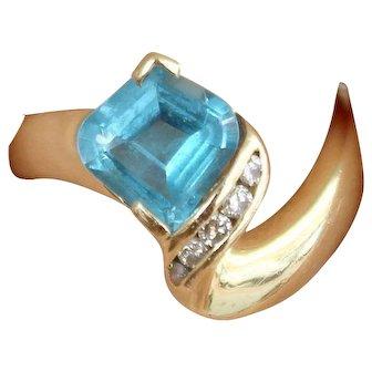 Topaz and Diamond Ring 14k Yellow Gold Fashion