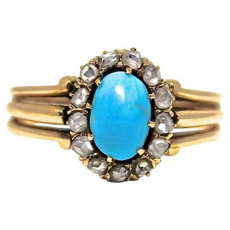 SALE! Turquoise and rose cut diamond ring in yellow gold vintage antique halo