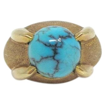 Sale! 14K Yellow Gold turquoise with matrix textured gallery