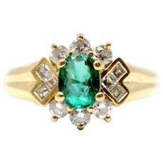 18k yellow gold Emerald and diamond ring vintage antique