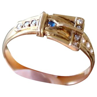Genuine Sapphire and Diamond Belt ring Vintage Yellow Gold 14k