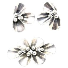 Sterling Silver floral pin and clip-on earrings Danish signed Niels Erik