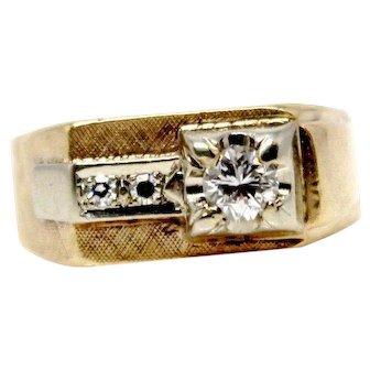 14k Yellow Gold mens 1950s Approx 0.50ctw diamond signet