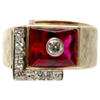 10 k Diamond and Red Crystal 1950s ring