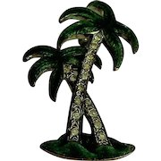 Palm tree enamel and rhinestone vintage brooch