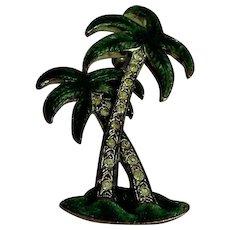 Palm tree enamel and rhinestone vintage brooch