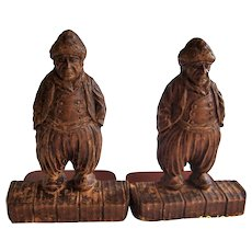 Book ends from the 1930's, figures of old Dutch men in Syrocco type material