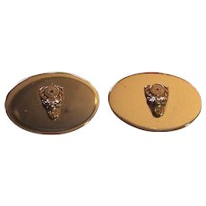 Anson Cufflinks with an Elk head on silver metal face
