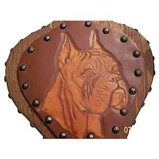 Vintage Bellows with Tooled Carved Leather Boxer Dog Picture on Front