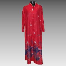 Beautiful Design on Vintage Polyester Ladies Robe