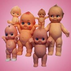 Six Kewpie Dolls, Largest One Marked Cameo.