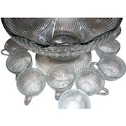 Vintage Punch Bowl Set by Jeanette Glass Co. in Ribbed and Dot Pattern