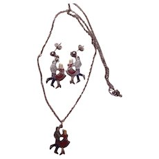 Vintage Square Dance Set of Pieced Earrings and Necklace.