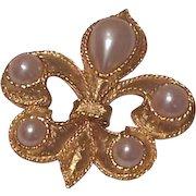 Vintage Brooks Brushed Gold Tone Brooch Smokey Glass Stone