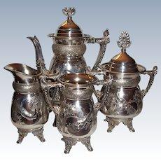 Meriden B. Silver Plate Coffee Set, Peacock Pattern