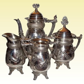 Meriden B. Silver Plate Coffee Set, Peacock Pattern