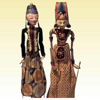 Indonesian  Wood Painted Rod Puppets