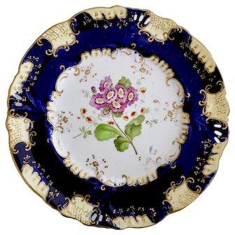 Samuel Alcock dessert plate, Horn of Plenty moulding with flower study, ca 1840 (1)
